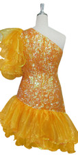 Short Handmade 8mm Cupped Sequin Dress in Iridescent Orange with Yellow Organza Ruffles and One-shoulder Cut back view