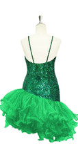 Short Handmade 8mm Cupped Sequin Dress in Iridescent Dark Green with Organza Ruffled Diagonal Hemline back view