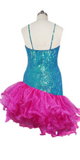 Short Handmade 8mm Cupped Sequin Dress in Iridescent Turquoise with Fuchsia Organza Ruffled Diagonal back view