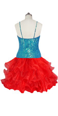 Short Handmade 8mm Cupped Sequin Dress in Iridescent Turquoise with Red Organza Ruffled back view