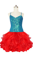 Short Handmade 8mm Cupped Sequin Dress in Iridescent Turquoise with Red Organza Ruffled front view