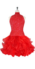 Short Handmade 8mm Cupped Sequin Dress in Red with Organza Ruffled Hemline and Chinese Collar Cut back view