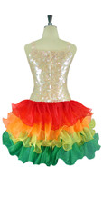 Short Handmade 10mm Flat Sequin Dress in Champagne Color with Multicolored Organza Skirt back view