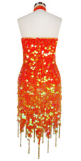 Short Handmade 20mm Paillette Hanging Transparent Orange Sequin Dress Chinese Collar and Jagged, Beaded Hemline back view