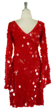 Short Handmade 30mm Paillette Hanging Transparent Red Sequin Dress with V Neck and Oversized Sleeves back view