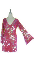 Short Handmade 30mm Paillette Hanging Iridescent Pink Sequin Dress with V Neck and Oversized Sleeves Close up view