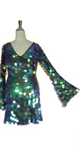 Short Handmade Paillette Sequin Dress in Iridescent Purple with Oversized Sleeves and V Neckline close up view