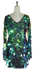 Short Handmade Paillette Sequin Dress in Iridescent Purple with Oversized Sleeves and V Neckline back view