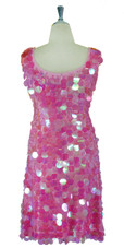 Short Handmade 30mm Paillette Hanging Iridescent Pink Sequin Sleeveless Dress with U Neck back view