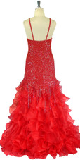 Long Handmade 8mm Cupped Red Sequin Dress with Ruffled Red Organza Skirt back view