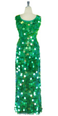 Long Handmade Paillette Sequin Gown in Transparent Iridescent Green with a U-shaped Collar back view