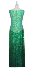 Handmade Long Patterned Sequin Dress in Green 8mm Cupped Sequins with Split Skirt Back View