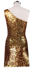 Sequin Fabric Short Dress in Gold with One Shoulder Cut Back View