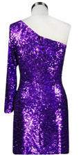Sequin Fabric Short Dress in Purple with One Sleeve Back View