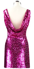 Sequin Fabric Short Dress in Fuchsia with Cowl Back Rear View