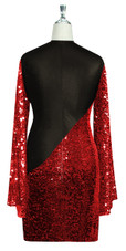 Short patterned dress with oversized sleeves in red sequin spangles fabric and black stretch ITY fabric Back View