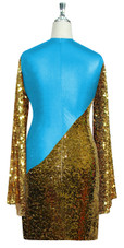 Short patterned dress with oversized sleeves in gold sequin spangles fabric and turquoise stretch ITY fabric Back View