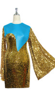 Short patterned dress with oversized sleeves in gold sequin spangles fabric and turquoise stretch ITY fabric Close cut View
