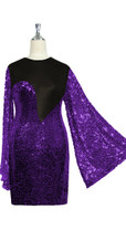 Short patterned dress with oversized sleeves in purple sequin spangles fabric and black stretch ITY fabric Close cut View