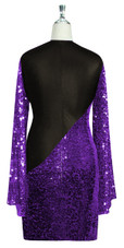 Short patterned dress with oversized sleeves in purple sequin spangles fabric and black stretch ITY fabric Back View