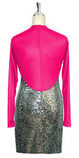 Short patterned dress with long sleeves in silver sequin spangles fabric and fuchsia stretch ITY fabric Back View
