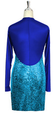 Short patterned dress with sleeves in turquoise sequin spangles fabric and blue stretch fabric Back View