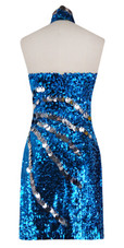 Short Dress With Chinese Collar In Turquoise Sequin Fabric With Hand Sewn Silver Metallic Sequin - back view