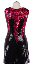 Short patterned dress with U-shaped neckline in black and fuchsia sequin spangles fabric back view