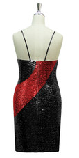 Short patterned dress in black and red sequin spangles fabric in a classic cut back view