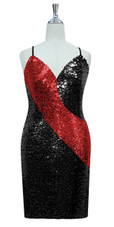 Short patterned dress in black and red sequin spangles fabric in a classic cut front view