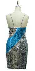 Short patterned dress in silver and turquoise sequin spangles fabric in a classic cut back view
