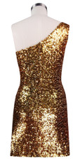 Short patterned dress in metallic turquoise and gold sequin spangles fabric in a one-shoulder cut back view