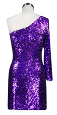 Short patterned dress in metallic purple and fuchsia sequin spangles fabric in a one-sleeve cut back view