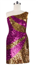 Short patterned dress in metallic gold and fuchsia sequin spangles fabric with one-shoulder cut front view