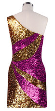 Short patterned dress in metallic gold and fuchsia sequin spangles fabric with one-shoulder cut back view