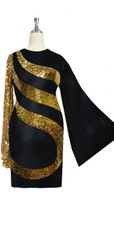 Short patterned dress in metallic gold sequin spangles fabric and stretch black fabric with oversized sleeves
