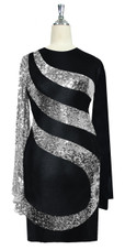 Short patterned dress in metallic silver sequin spangles fabric and stretch black fabric with oversized sleeves front view