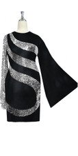 Short patterned dress in metallic silver sequin spangles fabric and stretch black fabric with oversized sleeves close up