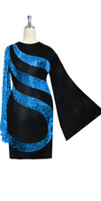 Short patterned dress in metallic turquoise sequin spangles fabric and stretch black fabric with oversized sleeves