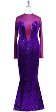 Long sleeved gown in metallic dark purple sequin spangles fabric and purple stretch fabric with flared hemline front view
