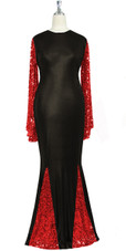 Oversized sleeve gown in metallic red sequin spangles fabric and black stretch fabric with flared hemline front view