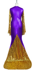 Oversized sleeve gown in metallic gold sequin spangles fabric and purple stretch fabric with flared hemline back view