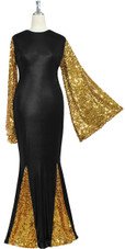 Oversized sleeve gown in metallic gold sequin spangles fabric and black stretch fabric with flared hemline front view
