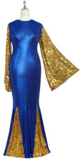 Oversized sleeve gown in metallic gold sequin spangles fabric and blue stretch fabric with flared hemline front view