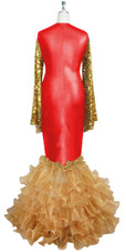 Oversized sleeve gown in metallic gold sequin spangles fabric and red stretch fabric with beige organza ruffles hemline front view