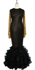 Oversized sleeve gown in metallic gold sequin spangles fabric and black stretch fabric with black organza ruffles hemline front view
