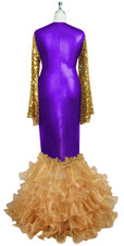 Oversized sleeve gown in metallic gold sequin spangles fabric and purple stretch fabric with beige organza ruffles hemline front view
