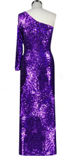 Long dress in metallic purple sequin spangles fabric and one-shoulder cut with sleeves  back view