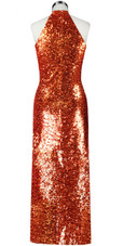Long dress in metallic copper sequin spangles fabric and keyhole Chinese neckline back view