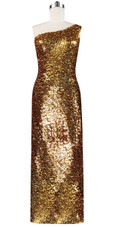 Long dress in metallic gold sequin spangles fabric and one-shoulder cut front view